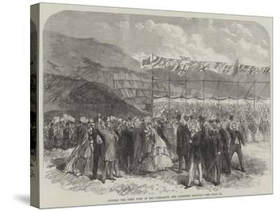 Cutting the First Turf of the Carnarvon and Llanberis Railway--Stretched Canvas Print