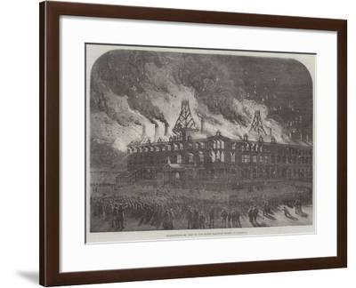Destruction by Fire on the Queen Railway Hotel at Chester--Framed Giclee Print