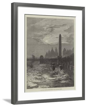The Frozen Thames, Seagulls Circling Round Cleopatra's Needle--Framed Giclee Print