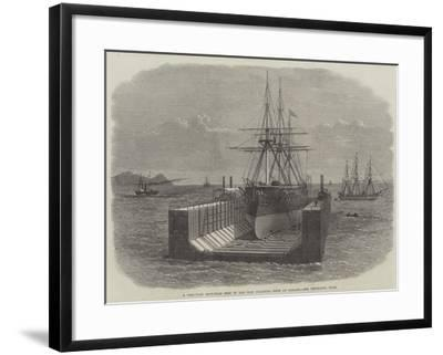 A Peruvian Iron-Clad Ship in the New Floating Dock at Callao--Framed Giclee Print