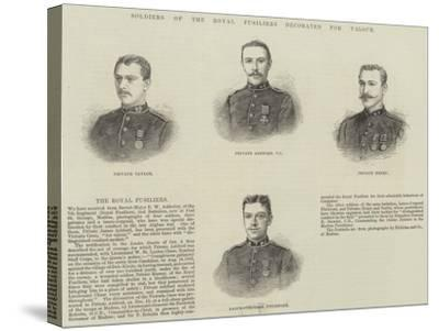 Soldiers of the Royal Fusiliers Decorated for Valour--Stretched Canvas Print