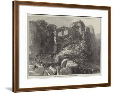 The Floods in India, Ruins of a Mirzapore Ghaut--Framed Giclee Print