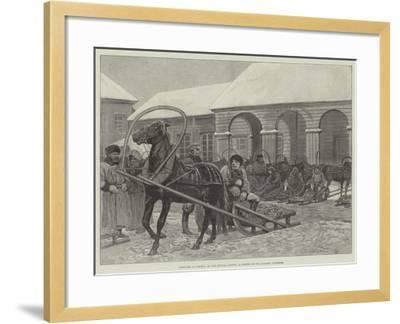 Sketches in Siberia, a Corner of the Market, Yeniseisk--Framed Giclee Print