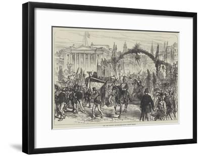 The Lord Mayor's Procession Crossing London Bridge--Framed Giclee Print