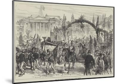 The Lord Mayor's Procession Crossing London Bridge--Mounted Giclee Print
