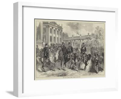 The King of Italy in Berlin, Review of the Guards--Framed Giclee Print