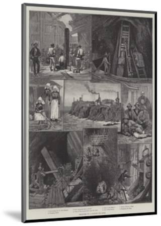 Sketches in a Cornish Tin-Mine--Mounted Giclee Print