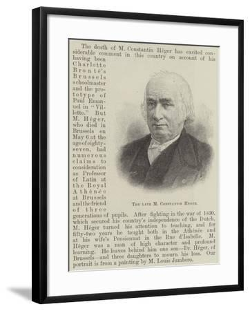 The Late M Constantin Heger--Framed Giclee Print