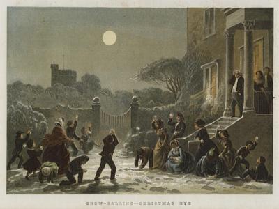 Snow-Balling, Christmas Eve--Framed Giclee Print