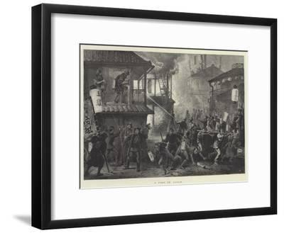 A Fire in Japan--Framed Giclee Print