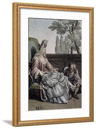 Shoemaker Measuring Lady's Shoes, Ca 1715, France, 18th Century--Framed Giclee Print