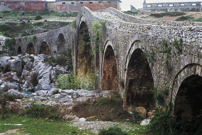 Mes Bridge over Kiri River, Near Shkoder, Albania, 18th Century--Framed Giclee Print