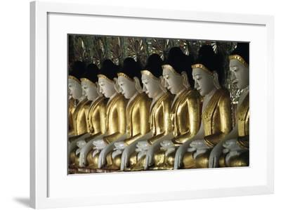 Statues of Buddha, U Min Thone Sae Pagoda, Mandalay, Myanmar (Burma)--Framed Giclee Print