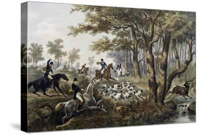 Hunt, Lithograph, France, 19th Century--Stretched Canvas Print