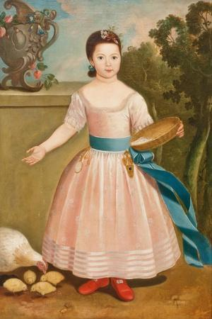 Girl Feeding Chickens, C.1811-20--Stretched Canvas Print