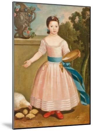 Girl Feeding Chickens, C.1811-20--Mounted Giclee Print