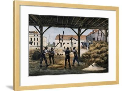 Threshing Wheat, France, 19th Century--Framed Giclee Print