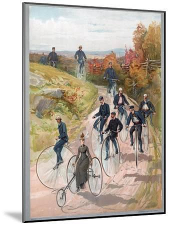 Group Riding Penny-Farthing Bicycles, 1887--Mounted Giclee Print
