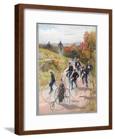 Group Riding Penny-Farthing Bicycles, 1887--Framed Giclee Print
