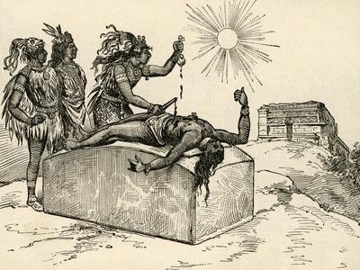 Aztec Priest Performing Sacrifice, 1889--Framed Giclee Print