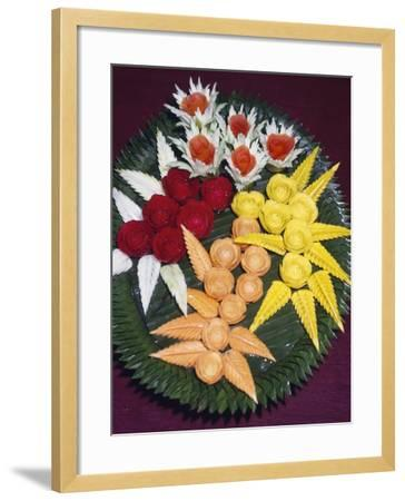 Composition of Pulses Fashioned into Floral Shapes, Bangkok, Thailand--Framed Giclee Print