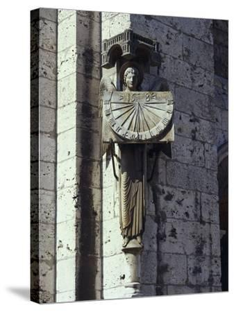 Angel Statue on the Wall of a Cathedral, Notre Dame, Chartres, France--Stretched Canvas Print