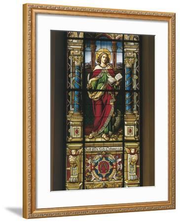 Stained Glass Window of St. John the Evangelist, Stockholm, Sweden--Framed Giclee Print