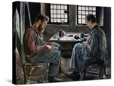 Cobblers at Work, Lithograph, Belgium, 19th Century--Stretched Canvas Print