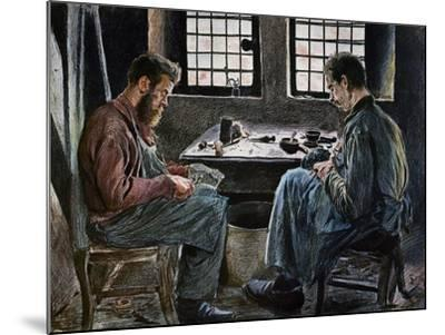 Cobblers at Work, Lithograph, Belgium, 19th Century--Mounted Giclee Print