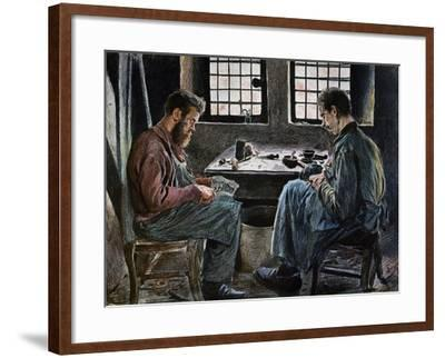 Cobblers at Work, Lithograph, Belgium, 19th Century--Framed Giclee Print