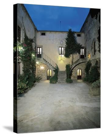 Plants in the Courtyard of a Castle, Sanluri, Sardinia, Italy--Stretched Canvas Print