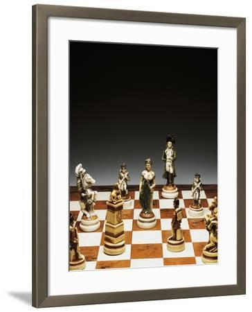 Chessboard with Chess Pieces, Chess, 20th Century--Framed Giclee Print