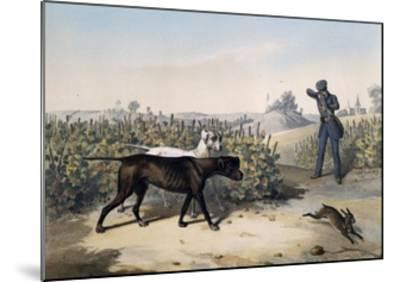 Hare Hunting with English Pointers and Lithograph by Le Pan--Mounted Giclee Print