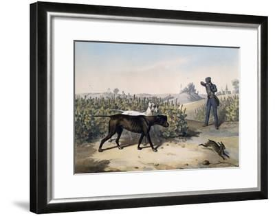 Hare Hunting with English Pointers and Lithograph by Le Pan--Framed Giclee Print