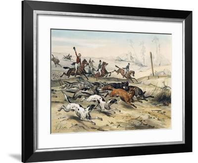 Fox Hunting, by Jean Victor Adam (1801-1866)--Framed Giclee Print