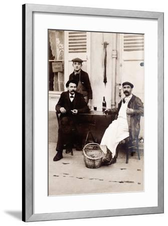 Fresh Oysters on the Terrace of a Bistro, Paris, 1900--Framed Photographic Print