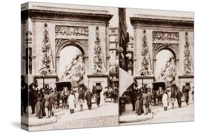 Stereoscopic View of Porte St Denis, Paris, 1890--Stretched Canvas Print