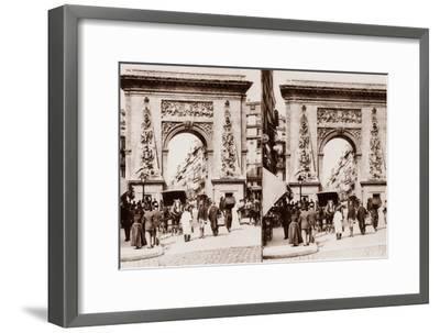 Stereoscopic View of Porte St Denis, Paris, 1890--Framed Photographic Print