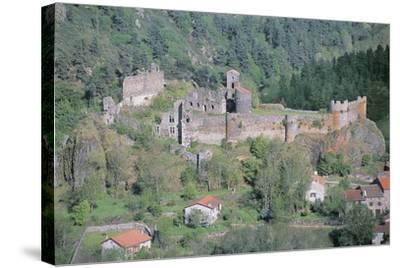 Old Ruins of a Castle, Arlempdes Castle, Auvergne, France--Stretched Canvas Print