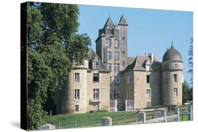 Lawn in Front of a Castle, Ayna, Midi-Pyrenees, France--Stretched Canvas Print