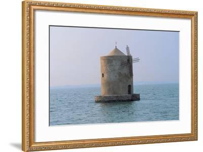 Windmill in the Sea, Orbetello Lagoon, Tuscany, Italy--Framed Photographic Print