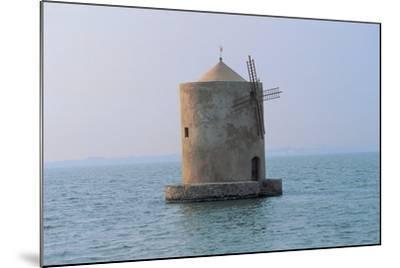 Windmill in the Sea, Orbetello Lagoon, Tuscany, Italy--Mounted Photographic Print