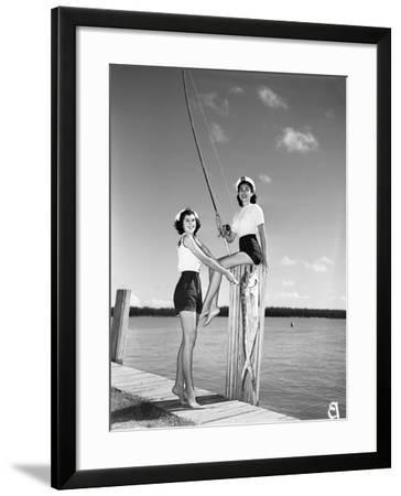 Toby Gerard and Barbara Wartell Strike Fishy Poses, April 1951--Framed Photographic Print