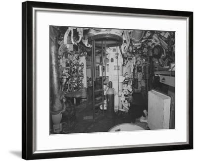 The Control Room Looking Aft on the Captured German Submarine U505--Framed Photographic Print