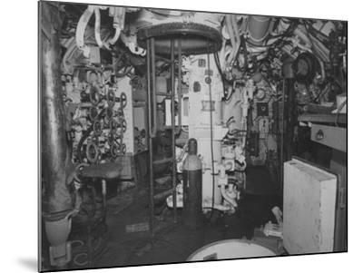 The Control Room Looking Aft on the Captured German Submarine U505--Mounted Photographic Print