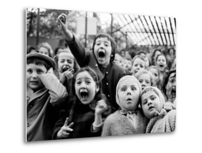 Children at a Puppet Theatre, Paris, 1963-Alfred Eisenstaedt-Metal Print
