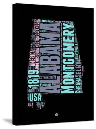 Alabama Word Cloud 1-NaxArt-Stretched Canvas Print