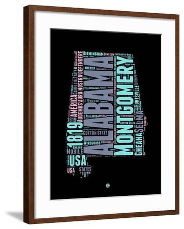 Alabama Word Cloud 1-NaxArt-Framed Art Print