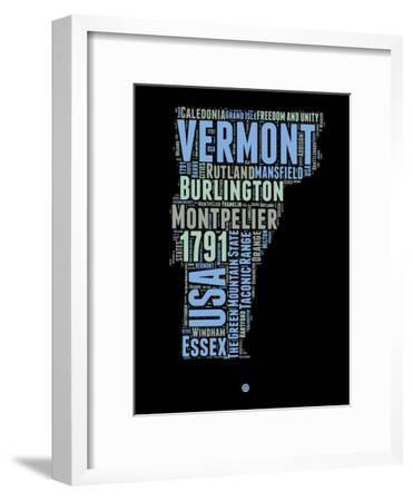 Vermont Word Cloud 1-NaxArt-Framed Art Print