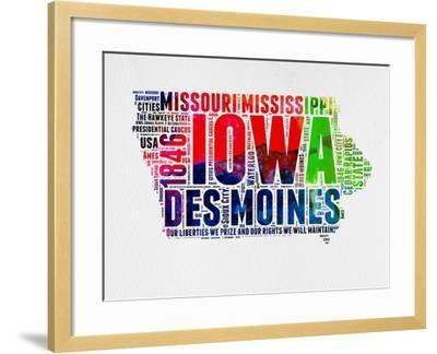 Iowa Watercolor Word Cloud-NaxArt-Framed Art Print